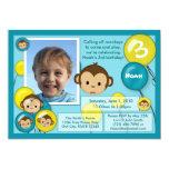 Monkey birthday invitation blue yellow (photo)