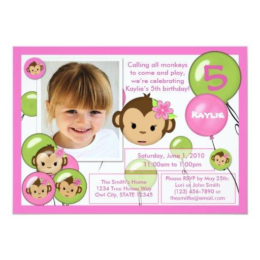 Monkey birthday invitation pink green lime (photo)