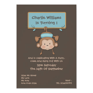 Monkey Birthday Party Card