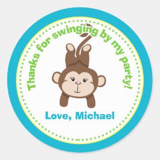 Monkey Birthday Party Favor Stickers