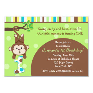 Monkey birthday invitations zazzle monkey birthday party invitations filmwisefo