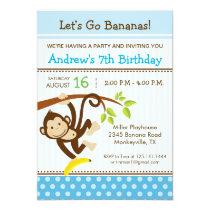 Monkey Blue Birthday Party Invitation