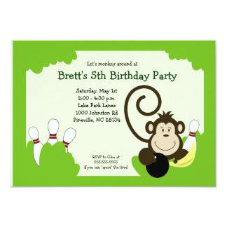 Monkey Bowl Bowling Party Birthday 5x7 Card