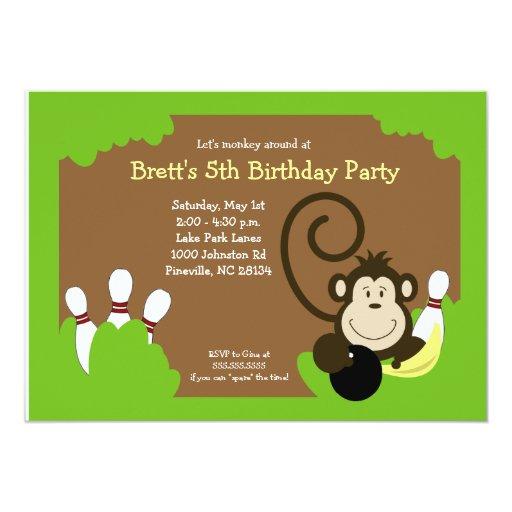 Monkey Bowl Bowling Party Birthday 5x7 5x7 Paper Invitation Card