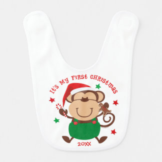 Monkey Boy 1st Christmas Baby Bib