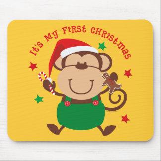 Monkey Boy 1st Christmas Mouse Pad