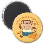 Monkey Boy 1st Thanksgiving 2 Inch Round Magnet