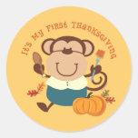 Monkey Boy 1st Thanksgiving Stickers