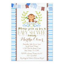 Monkey Boy Baby Shower Invitation