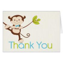 Monkey Boy Baby Shower Thank You Card