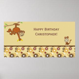 Monkey Boy Birthday Party Banner Poster