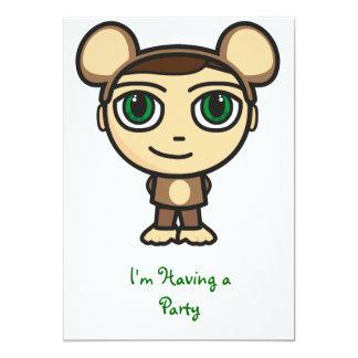 """Monkey Boy I'm Having a Party Invitation 5"""" X 7"""" Invitation Card"""