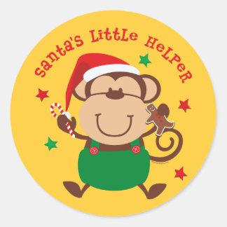 Monkey Boy Santas Helper Classic Round Sticker