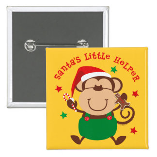 Monkey Boy Santas Helper Pinback Button