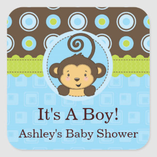 Monkey Boy Square Baby Shower Stickers