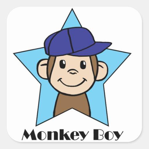 Monkey Boy Square Sticker