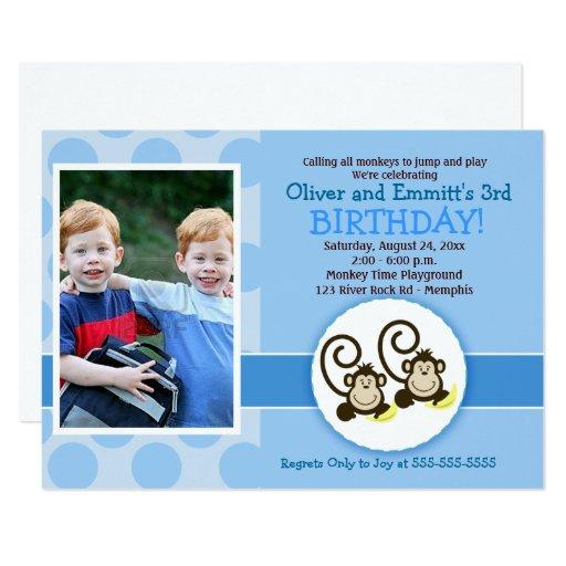 Monkey Boy Twins Birthday Invitation