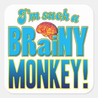 Monkey Brainy Brain Square Sticker