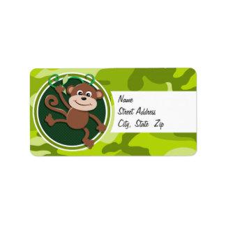 Monkey; bright green camo, camouflage address label