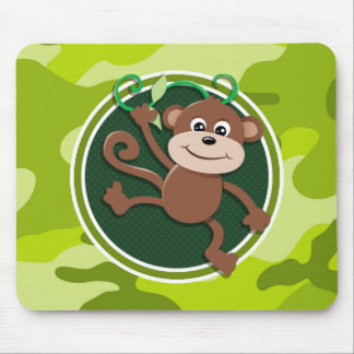 Monkey; bright green camo, camouflage mouse pad