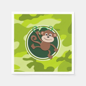 Monkey; Bright Green Camo  Camouflage Napkin by doozydoodles at Zazzle