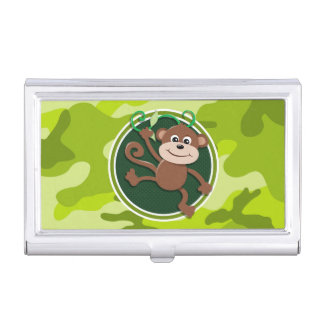Monkey; bright green camo, camouflage case for business cards
