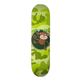 Monkey; bright green camo, camouflage skateboard deck