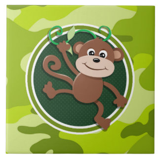 Monkey; bright green camo, camouflage tile