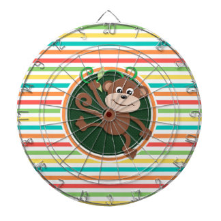 Monkey; Bright Rainbow Stripes Dartboard With Darts