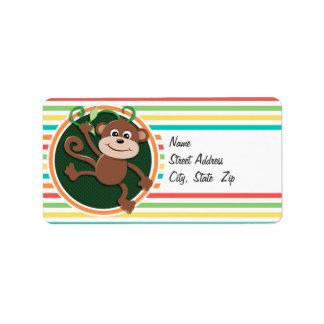 Monkey; Bright Rainbow Stripes Personalized Address Labels