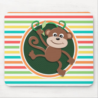 Monkey; Bright Rainbow Stripes Mouse Pad
