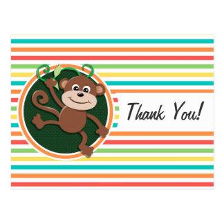 Monkey Bright Rainbow Stripes Post Cards