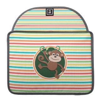 Monkey; Bright Rainbow Stripes Sleeve For MacBooks