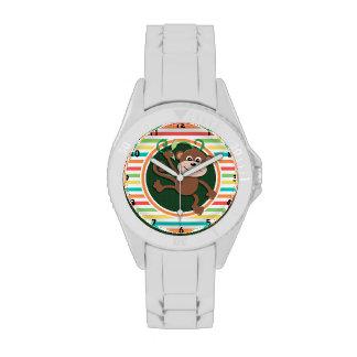 Monkey; Bright Rainbow Stripes Wristwatch
