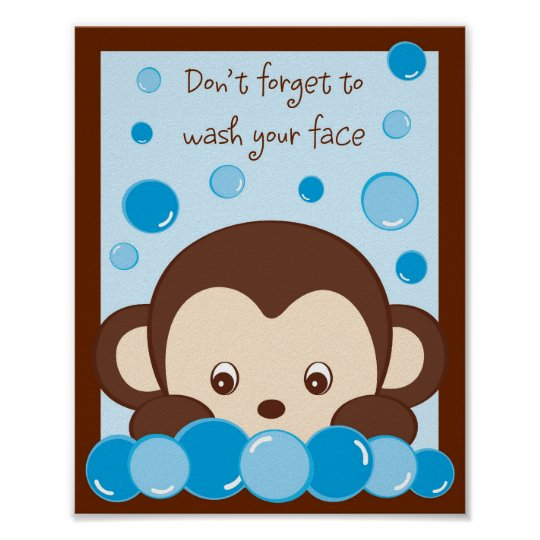 Monkey Bubbles Kids Bathroom Art Print 8X10