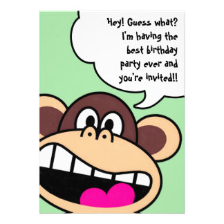 Monkey Business Birthday Party Invitation