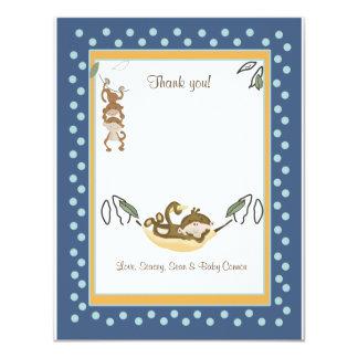 Monkey Business Blue Thank you card Flat