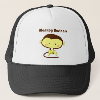 Monkey Business Brown and Yellow Chimp Cartoon Trucker Hat