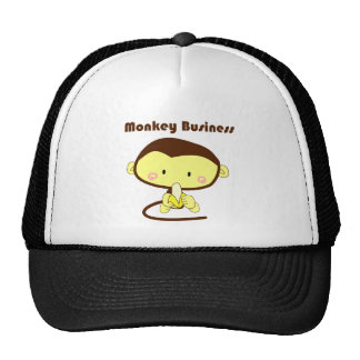 Monkey Business Brown and Yellow Chimp Cartoon Trucker Hat