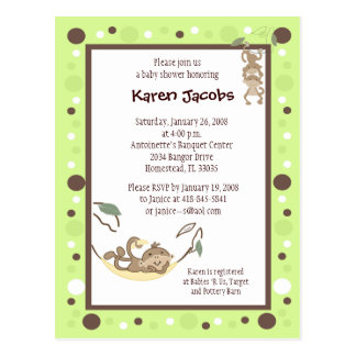 Monkey Business Green and Brown dot invitation Postcard