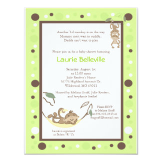 Monkey Business Green Brown Dot Baby Shower Card