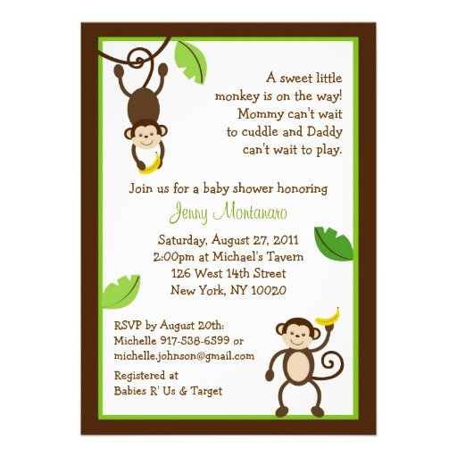 monkey business jungle baby shower invitations 5 x 7 invitation c