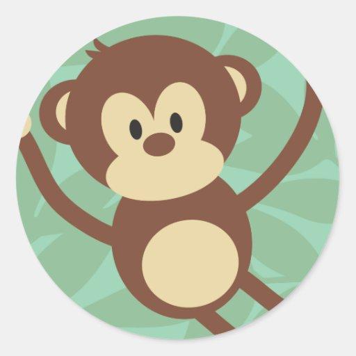 Monkey Business Round Stickers
