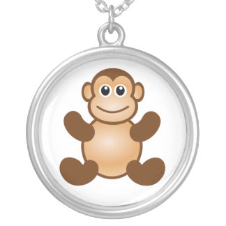 MONKEY BUSINESS SILVER PLATED NECKLACE