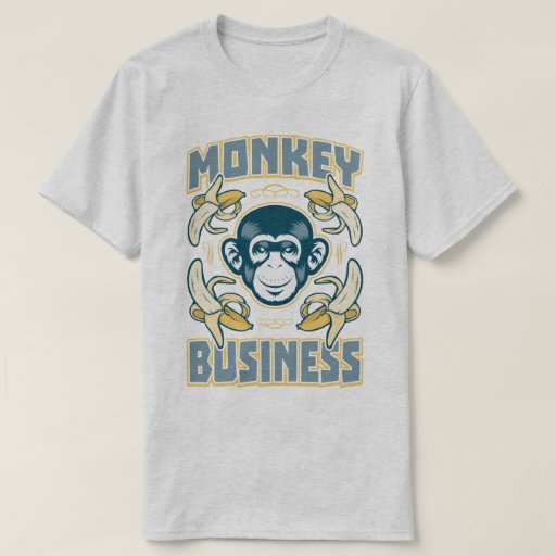 Monkey business slogan graphic print t shirt zazzle for Graphic t shirt printing company