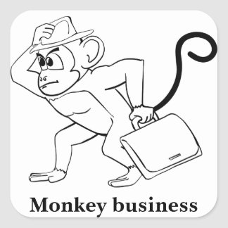 Monkey business square sticker