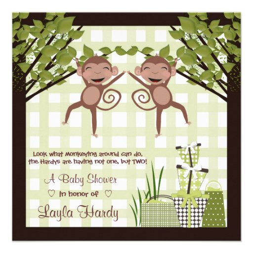 Monkey Business Twins Baby Shower Invitations