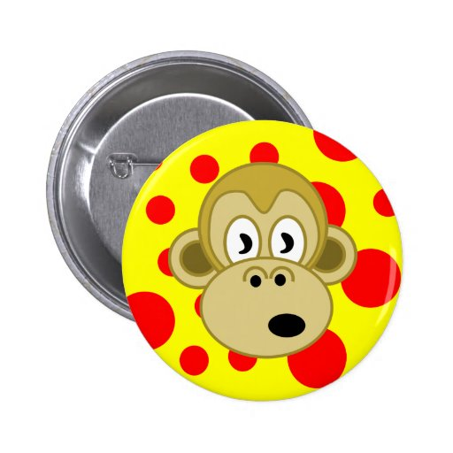 Monkey Button- Yellow and Red Polka Dot Background 2 Inch Round Button