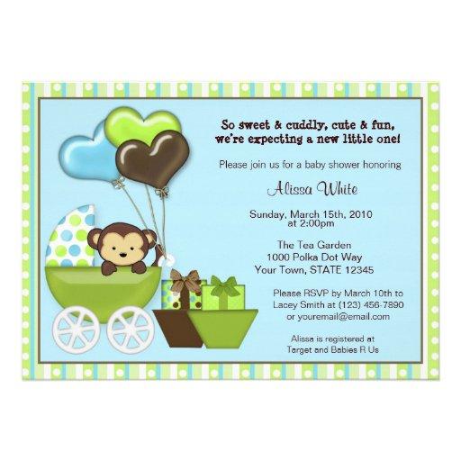 monkey carriage baby shower invitation blue green 5 x 7 invitatio