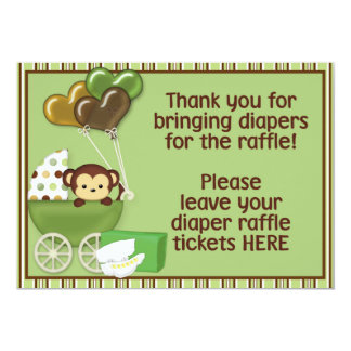 Monkey Carriage Grn Baby Shower Diaper Raffle Sign 5x7 Paper Invitation Card